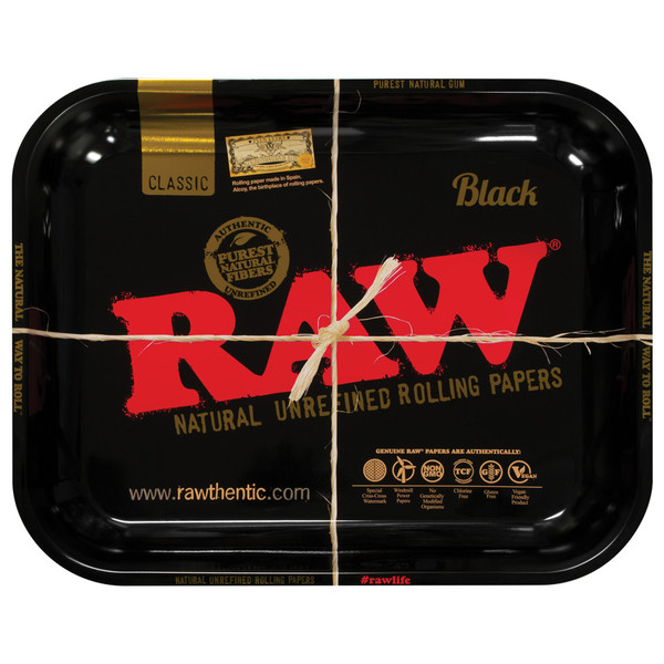 Raw High Sided Steel Rolling Tray | Black Large |Wholesale