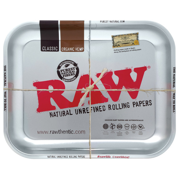 Raw High Sided Steel Rolling Tray | Silver Large | Wholesale
