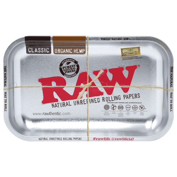 Raw High Sided Steel Rolling Tray | Silver Small | Wholesale