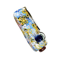 River Flowers Squared Glass Hand Pipe | Wholesale Distribution