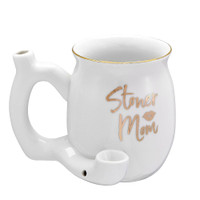 Roast & Toast Ceramic Pipe Mug | Stoner Mom | White | Wholesale