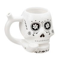 Roast & Toast Ceramic Pipe Mug | Sugar Skull | White | Wholesale