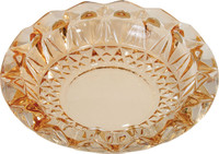 Round Cut Glass Ashtray - 7"