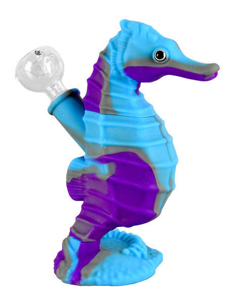 Sea Horse Silicone Waterpipe - 6"