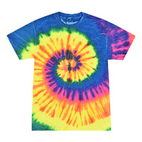 Short Sleeve Tie Dye T-Shirt | Neon Rainbow | Small | Wholesale