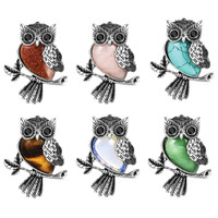 Silver & Semi-Precious Stone Owl Necklace | Wholesale Distributor