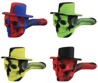 Skull Cowboy Silicone Hand Pipe - 4"