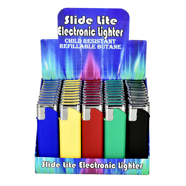 Slide Lite Refillable Electronic Lighter | Solid Color | Wholesale