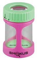 "Smokus Focus Stash Jar - 3""x2"" / Pink / Green - AFG Dist"