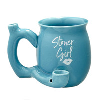 Stoner Girl Ceramic Mug Pipe - 11oz | Small | Blue
