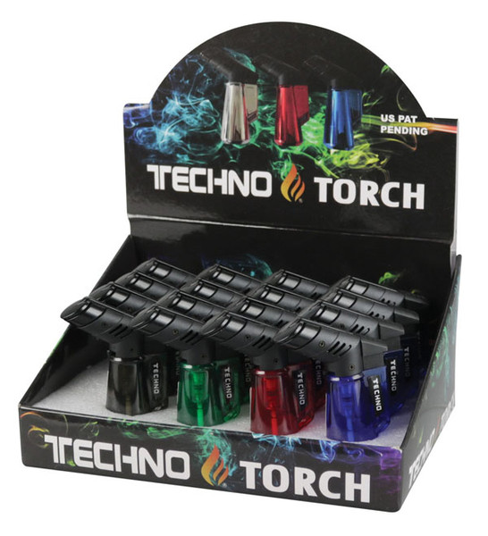 "Techno Torch Clear Torch - 3"" / Asst Colors- 16pc Display"