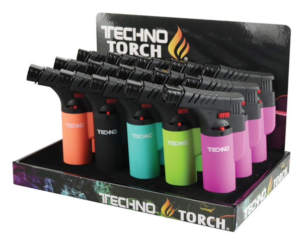 "Techno Torch Dual Flame - 4.5"" / Asst Colors - 15pc Display"