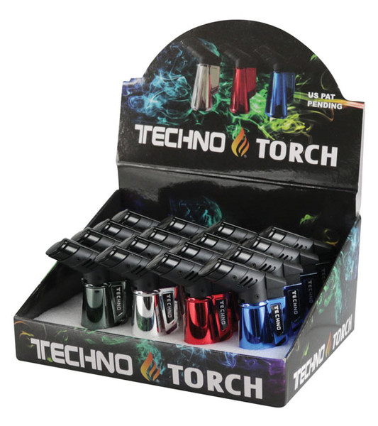 "Techno Torch Lighter - 3"" / Asst Metallic Colors - 16pc Display"