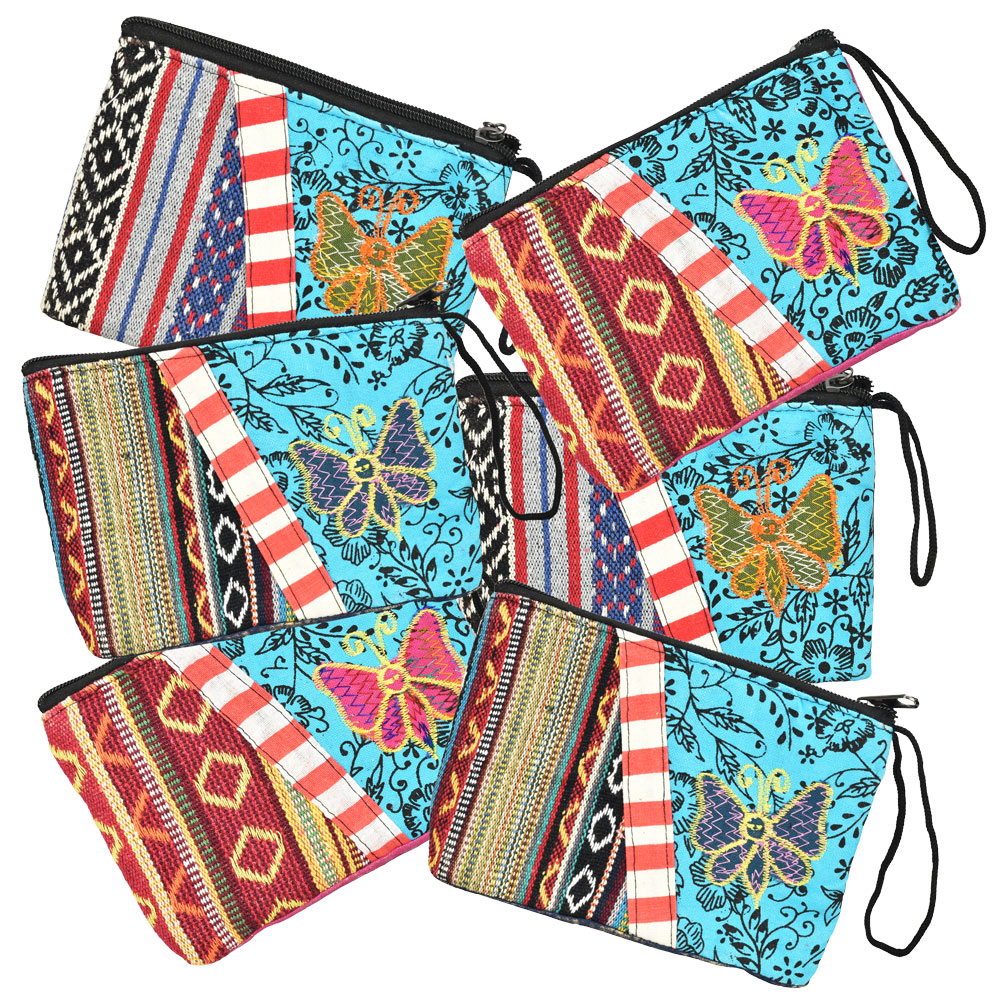 ThreadHeads Multi-color Butterfly Zipper Pouch | Wholesale