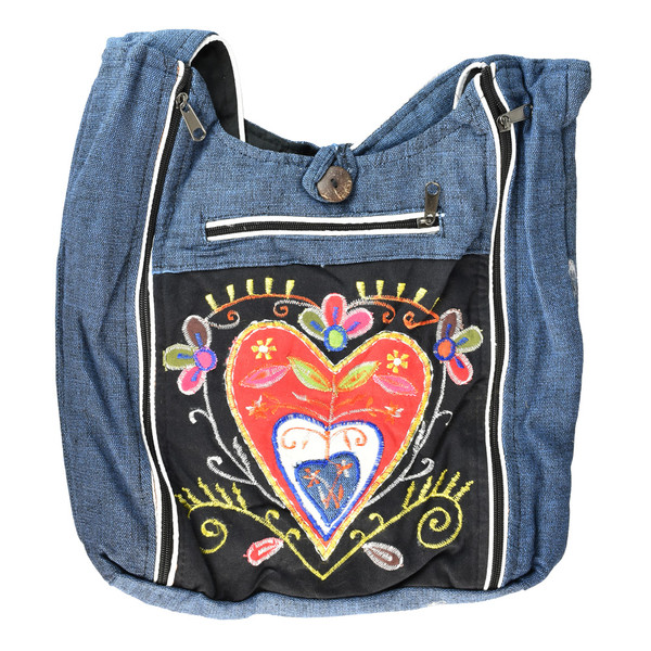 ThreadHeads Floral Heart Multi-Zipper Tote Bag | Wholesale
