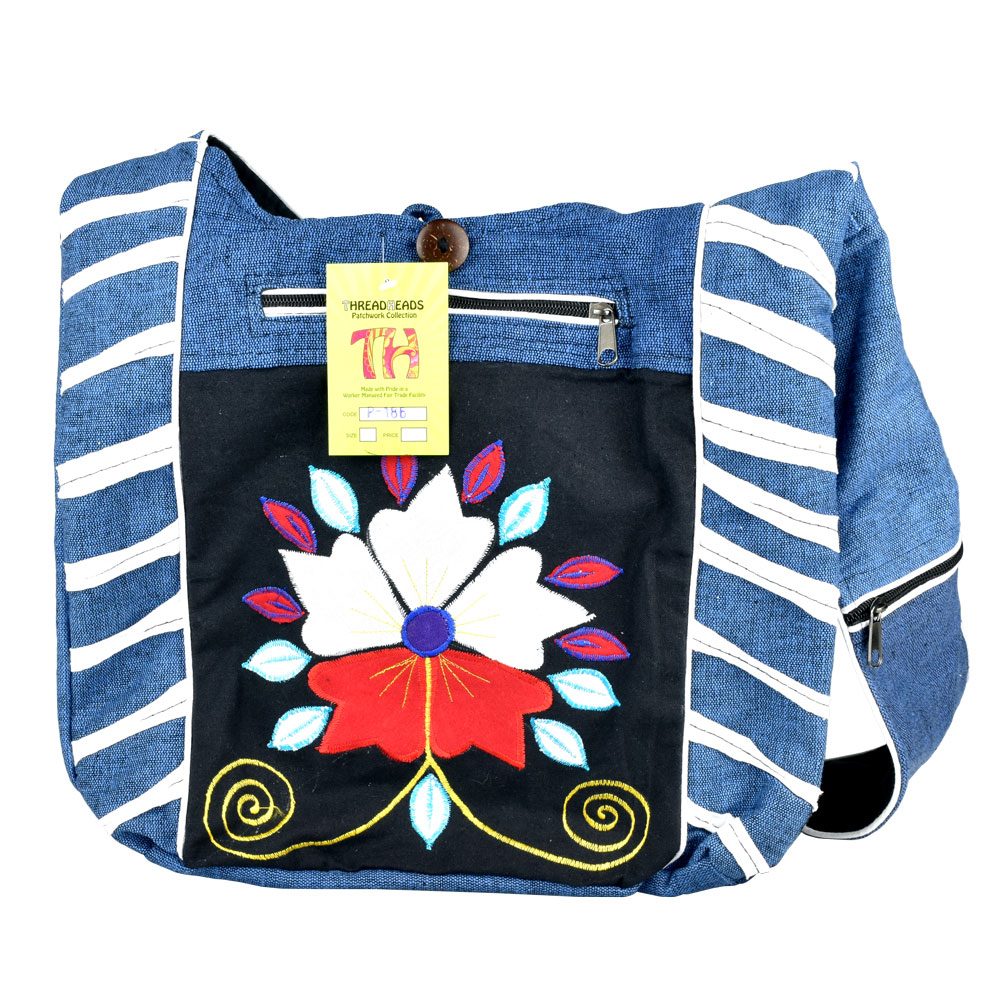 ThreadHeads Stylized Flower Zippered Shoulder Bag | Wholesale