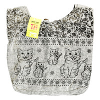 ThreadHeads Kittens & Flowers Burlap-look Bag | Wholesale