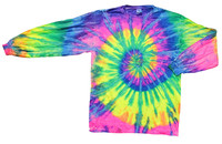 Long Sleeve Tie-Dye T-Shirt - Neon Rainbow - Small - AFG Distribution