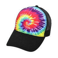 Tie-dye Snapback Trucker Cap | Reactive Rainbow | Wholesale