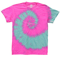Tie-Dye T-Shirt - Neon Pink Blue - Large - AFG Distribution