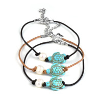Turquoise Beach Turtle Anklet w/ Pearl Accent | Wholesale Distributor