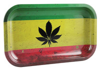 "V Syndicate Rolling Tray - Rasta Leaf / 10.5""x6.25"" / Medium"