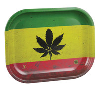 V Syndicate Rolling Tray - Rasta Leaf | Small