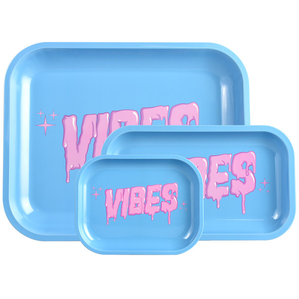 VIBES Metal Rolling Tray | Bubblegum Drip Logo | Wholesale