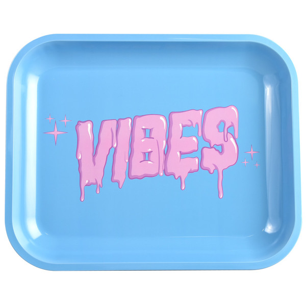 VIBES Metal Rolling Tray | Bubblegum Drip Logo | Large | Wholesale