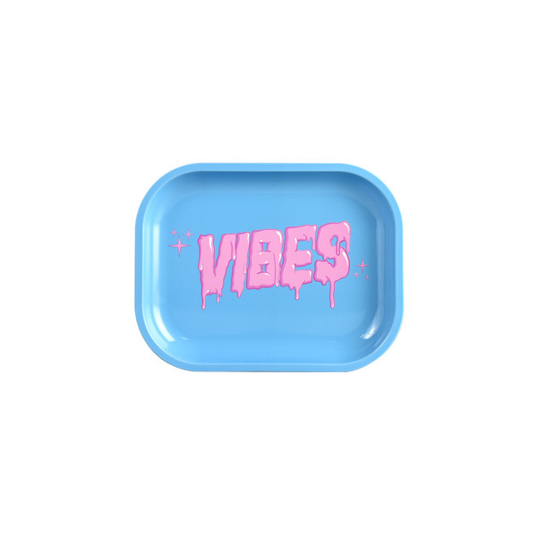 VIBES Metal Rolling Tray | Bubblegum Drip Logo | Small | Wholesale