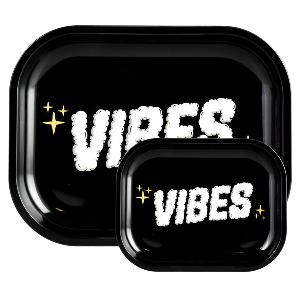 VIBES Metal Rolling Tray | Clouds of Smoke Logo | Wholesale