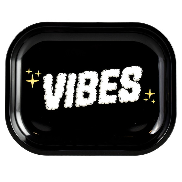 VIBES Metal Rolling Tray | Clouds of Smoke Logo | Large | Wholesale