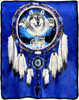 Wolf Dreamcatcher Sherpa Lined Fleece Blanket - 50 x 60""