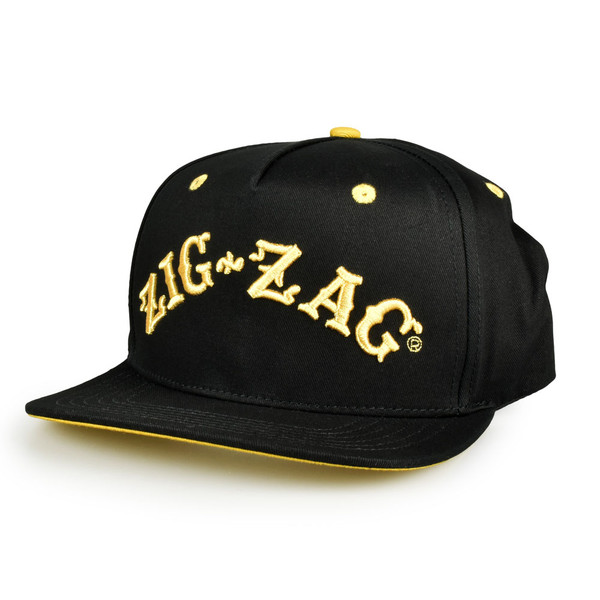 Zig-Zag Classic Snapback Hat | Black and Gold | Wholesale