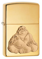 Zippo Lighter - Buddha Relief Emblem - Polished Brass