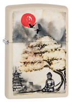 Zippo Lighter - Buddha Under Tree - Cream Matte