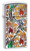 Zippo Lighter - Fusion Floral - Slim / Polished Chrome