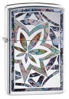 Zippo Lighter - Fusion Leaf - Polished Chrome