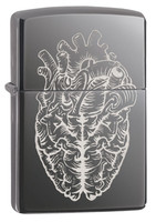 Zippo Lighter - Heart Brain Laser Engrave - Black Ice