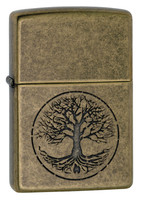 Zippo Lighter - Lustre Tree of Life - Antique Brass