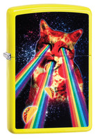 Zippo Lighter - Pizza Cat Shooting Rainbows - Neon Yellow