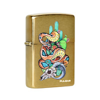 Zippo Lighter | Pulsar Psychedelic Rattlesnake | Brushed Brass | Wholesale