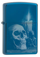 Zippo Lighter - Skull Candle - Polished Blue