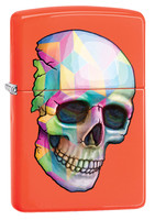Zippo Lighter - Geometric Skull - Neon Orange